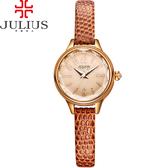 JULIUS 聚利時 霓光序曲立體切割面皮錶帶腕錶-深咖啡色/24mm 【JA-932E】