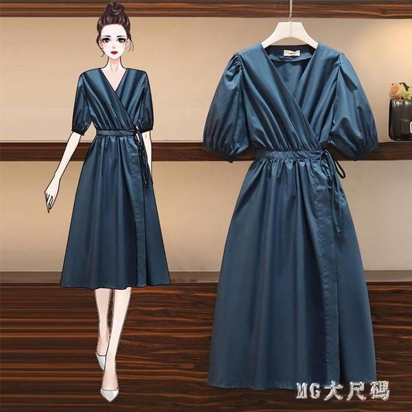 大碼女裝2020夏季新款顯瘦雪紡心機v領裙子胖妹妹氣質收腰連身裙 FX9530 【MG大尺碼】