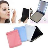 LED 隨身摺疊化妝鏡 桌鏡 立鏡 發光鏡(5色)