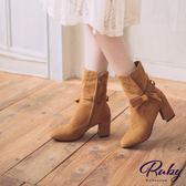 鞋子 蝴蝶結側拉鍊麂皮粗跟短靴-Ruby s 露比午茶