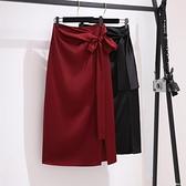 中長款開叉包臀裙女春夏新款氣質舒適垂墜絲滑醋酸緞面半身裙 居家物語