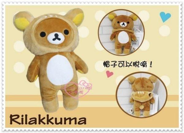 小花花日本精品♥Rilakkuma 拉拉熊 懶懶熊 麋鹿款全身造型 絨毛 假拉鍊 布偶 娃娃 帽子可脫 42148906