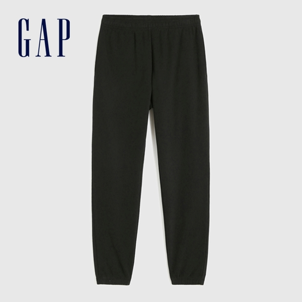 Gap男裝 碳素軟磨系列 法式圈織簡約風抽繩休閒褲 790269-黑色