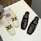 穆勒鞋包頭半拖鞋女金屬扣方頭中粗跟皮拖鞋穆勒鞋【少女顏究院】