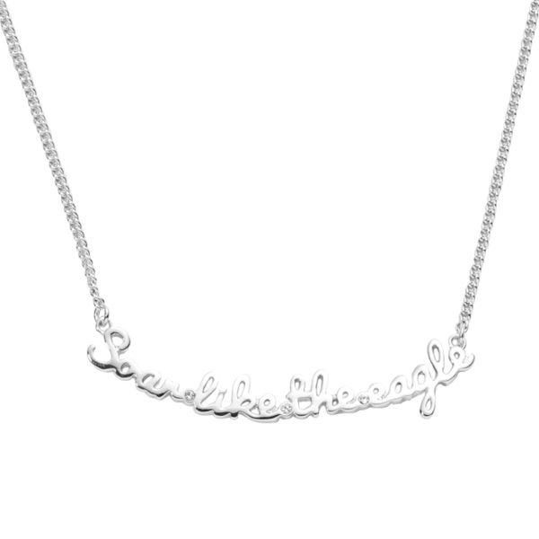 項鍊 Necklace 個性 文字鍊 like eagle 銅鍍14K白金 施華洛世奇水鑽