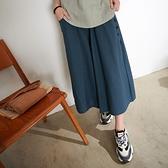 【慢。生活】開扣造型口袋棉麻裙褲 8001 FREE藍色
