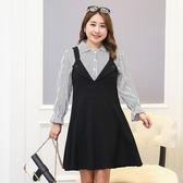 中大尺碼~簡單條紋襯衫上衣吊帶裙兩件式連衣裙(XL~4XL)