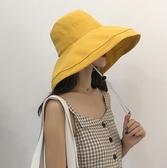 大檐漁夫帽女士夏季日系防曬遮陽帽子