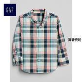 Gap男嬰幼童 時尚彩色拼接長袖襯衫 249886-舞會亮粉