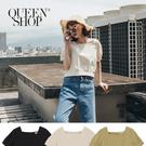 Queen Shop【01096669】方領後排釦綁帶造型上衣 三色售*現+預*