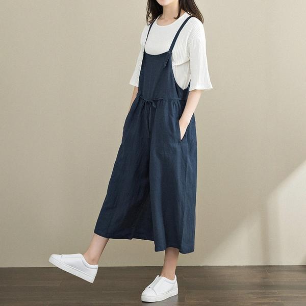 森女系 洋裝 日系棉麻寬鬆背帶連身褲 花漾小姐【預購】