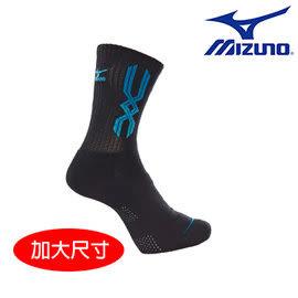 美津濃MIZUNO MC LINE加大尺寸男運動厚底襪 - 32TX700927(黑x藍) 2雙入 [陽光樂活=]
