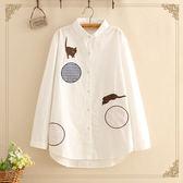 梅梅露*【55190043】日系森林女孩小貓咪玩樂刺繡長袖襯衫上衣