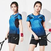 店長推薦夏季新款羽毛球服短袖速干透氣運動服上身男女吸汗比賽網球服