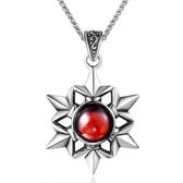 《QBOX 》FASHION 飾品【CSP641】精緻個性雪晶形紅寶石鑄造鈦鋼墬子項鍊/掛飾