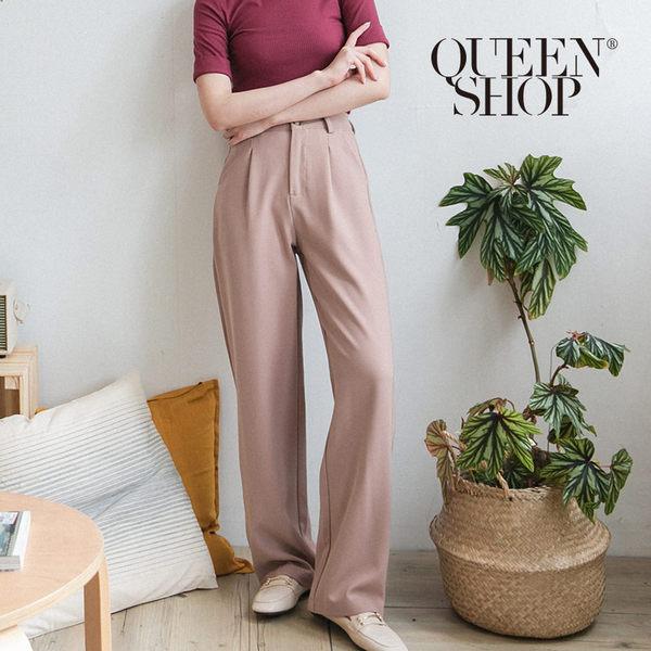 Queen Shop【04030246】質感高腰落地西裝褲 兩色售 S/M/L*現+預*