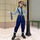 女童牛仔褲洋氣秋韓版寬鬆時髦高腰單肩吊帶褲秋款長褲兒童褲子 【雙十二狂歡】