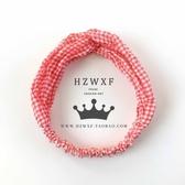 [協貿國際]簡約可愛甜美雪紡紅色格子交叉松緊髮帶打結頭箍頭帶飾品1入