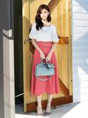 春夏7折[H2O]可露肩兩穿雪紡上衣拼接附腰帶長版波浪裙洋裝 - 黃/深藍/粉色 #0674005