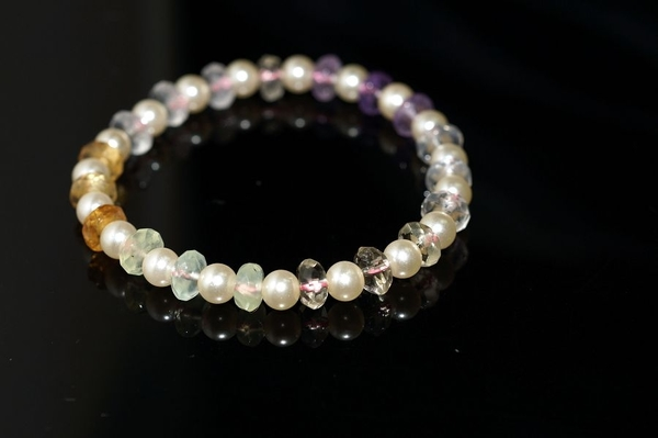 【喨喨飾品】天然水晶盤珠/仿珍珠 手鍊 A543