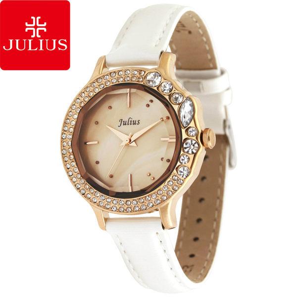 JULIUS 聚利時 蜜亞公主滿鑽立體鏡面皮帶腕錶-白色/36mm 【JA-631D】