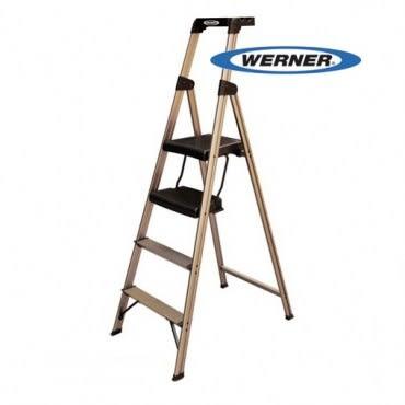 美國Werner穩耐安全鋁梯-234T-3AS優雅金大平台家用梯/A字梯