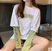 長袖T恤假兩件上衣女ins潮純棉長袖t恤2021新款春秋薄款拼接體桖寬鬆慵懶  伊蘿