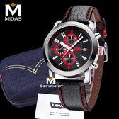LEVIS 男錶 三眼錶 計時運動錶 石英錶 真皮錶帶 50米防水錶 Levi's 男手錶 經典盒裝/紅/43mm