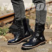 紅尾鵲冬季新款潮靴男士中筒靴潮流馬丁靴韓版保暖男鞋正裝皮靴子-Ifashion