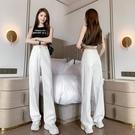 薄款寬褲~高腰九分和長褲薄款闊腿牛仔褲女高腰拖地褲13319.BMA117日韓屋