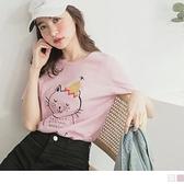 《AB12449-》竹節高含棉可愛貓咪圖印上衣/T恤 OB嚴選