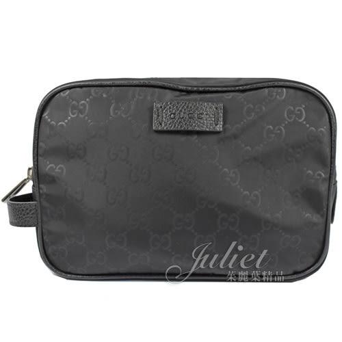 茱麗葉精品【全新現貨】GUCCI 510338 雙G LOGO 尼龍布皮飾邊手拿萬用包.黑