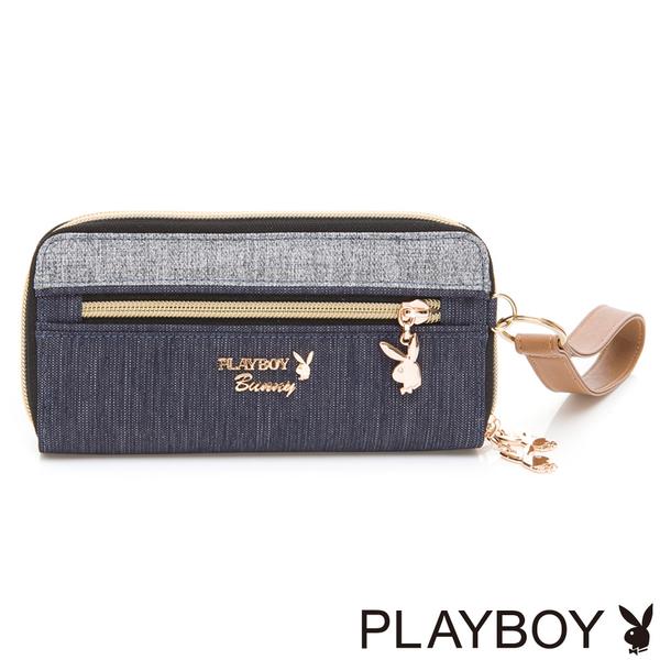 PLAYBOY- 雙拉鍊長夾 Light Up系列-丹寧藍