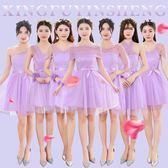 伴娘服短款2018新款韓版灰色姐妹裙伴娘團