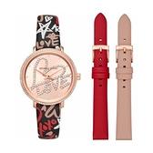 【Michael Kors】LOVE時尚派對晶鑽套錶組合-塗鴉款/MK2848/台灣總代理公司貨享兩年保固