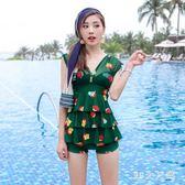 鋼托泳衣 泳衣女裙子加大碼胖mm200斤可穿遮肚顯瘦鋼托平角褲 QQ6825『MG大尺碼』