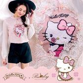 上衣 Hello Kitty x Ruby 聯名款.立體裝飾印花圖案玫瑰蕾絲上衣-Ruby s 露比午茶