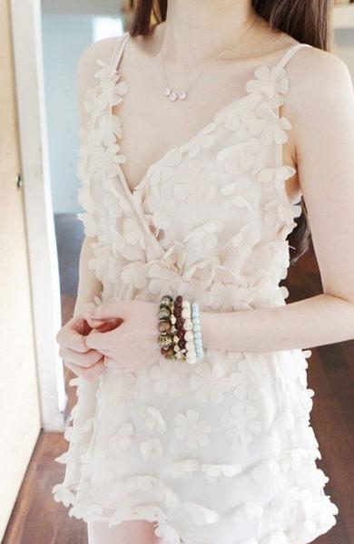 S超仙甜美蕾絲紗裙拼接女式長款胸墊睡裙 可愛蕾絲睡裙-11190015