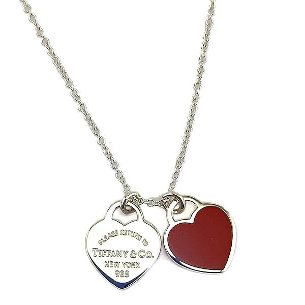 【奢華時尚】Tiffany 心心相映迷你吊牌墜飾925純銀紅瓷項鍊