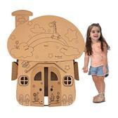 限定款蘑菇小屋紙殼房子紙箱diy手工制作玩具屋兒童紙板模型幼兒園塗色jj