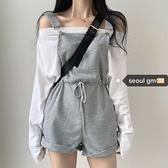 SEOUL休閒style~韓系學院派少女可酷可甜T恤 慵懶減齡闊腿吊帶褲8 幸福第一站