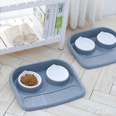 寵物用品 貓碗 雙碗寵物碗 防濺防漏狗碗 狗狗貓咪食盆 QG5497『優童屋』