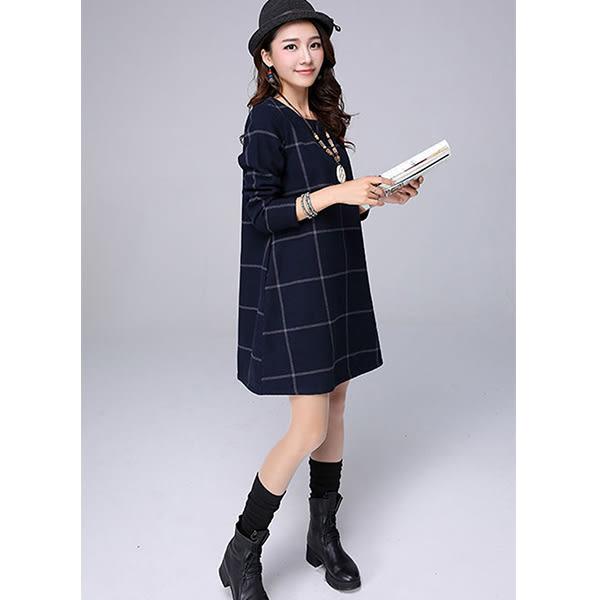 顯瘦格子長袖棉麻連身裙/格子洋裝/長袖連身裙/格子連身裙/中大尺碼