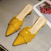 包頭涼鞋女粗跟2021新款軟皮尖頭仙女風溫柔百搭夏天白色中跟鞋子 【快速出貨】