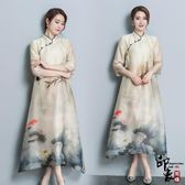 漢服古裝復古中國風女改良式旗袍中式連身裙印花寬鬆鯉魚游荷塘