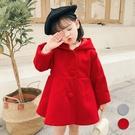 女童小紅帽尖尾連帽毛尼傘擺大衣 外套 兒童 女童 童裝 過年 新年 大紅 女童 橘魔法 現貨 童裝