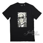 茱麗葉精品【全新現貨】KARL LAGERFELD 卡爾 肖像風印花造型棉質短T恤.黑