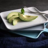 日式陶瓷早餐盤面包板壽司板帶把手水果盤托盤個性西餐盤子點心盤   小時光生活館