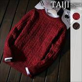 圓領毛衣針織衫‧復古麻花粗毛線圓領毛衣針織衫‧二色【NTJM9967】-TAIJI-