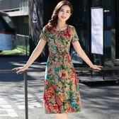中老年棉綢連身裙女夏裝中長款大碼媽媽裝